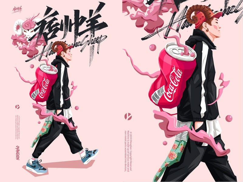 懒羊可乐 cocacola 酷 黑色 男孩 抽象 动画片 品牌 ui 向量 生育 设计 简洁 矢量 潮流 海报挑战 红色 羊 illustration 海报