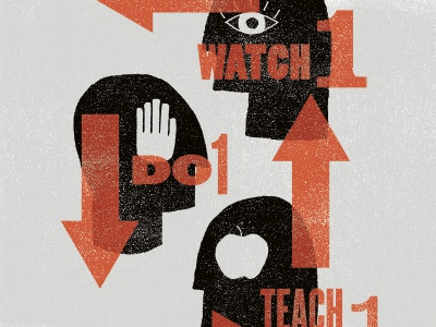 Watch One, Do One, Teach One watch do teach one hand texture red black gray illustration