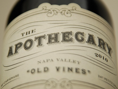 The Apothecary apothecary wine label typography brown aged