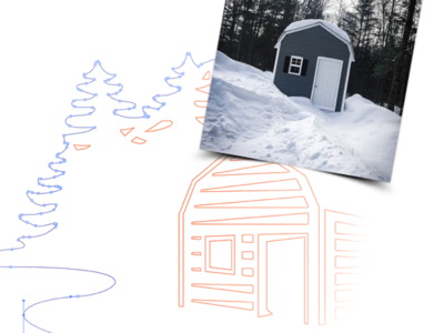 Shred Free or Die case study project portfolio website outdoors winter snowboarding skiing new hampshire cabin identity design logo branding