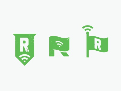 R is for Rejected r green flag logo mark wi-fi signal