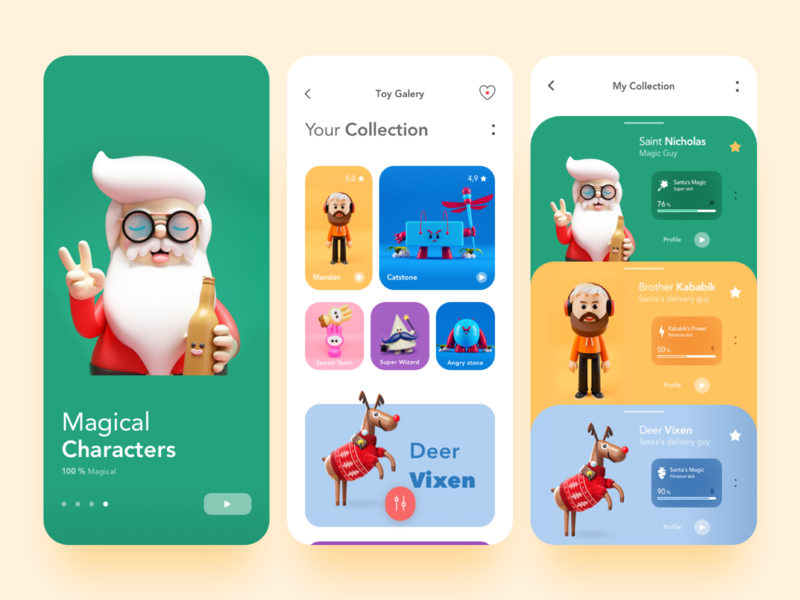 Toys Shop App new year clean interface product page profile page deer delivery cards profile mobile minimal ecommerce debut colors children santa app