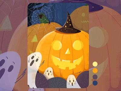 Happy Halloween ghost pumpkin illustration