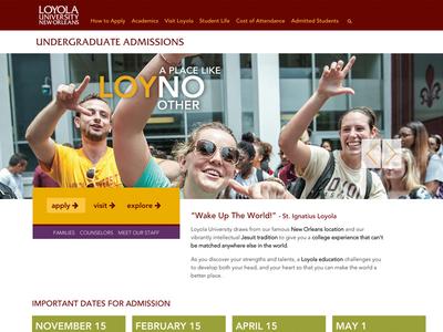 Loyola University Admissions Redesign - desktop