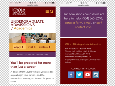 Loyola University Admissions Interior Page - mobile
