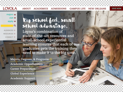 Loyola Homepage Redesign - Academics section - take 2