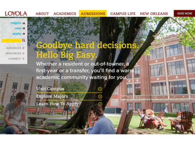 Loyola Homepage Redesign - admissions section