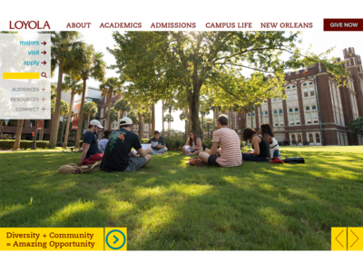 Loyola Homepage Redesign - slideshow section