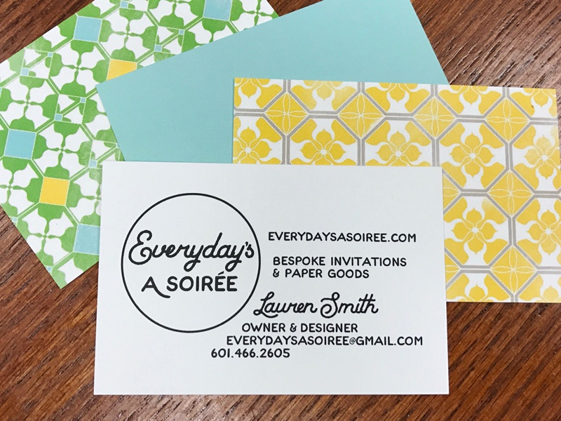 Everyday's A Soirée business card pattern lauren smith business cards