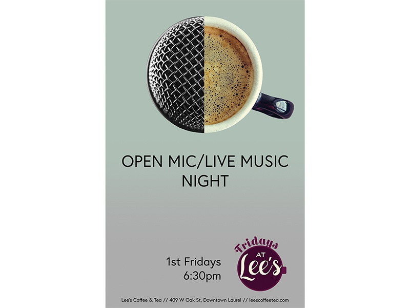 Fridays at Lee's Open Mic Night mississippi event poster lauren smith
