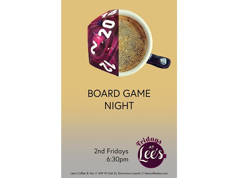 Fridays at Lee's Board Game Night mississippi event poster lauren smith