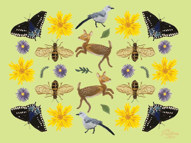 Mississippi Wildlife Commemorative Art Print art print the papeterie co lauren smith-bynum wild life mississippi painting gouache