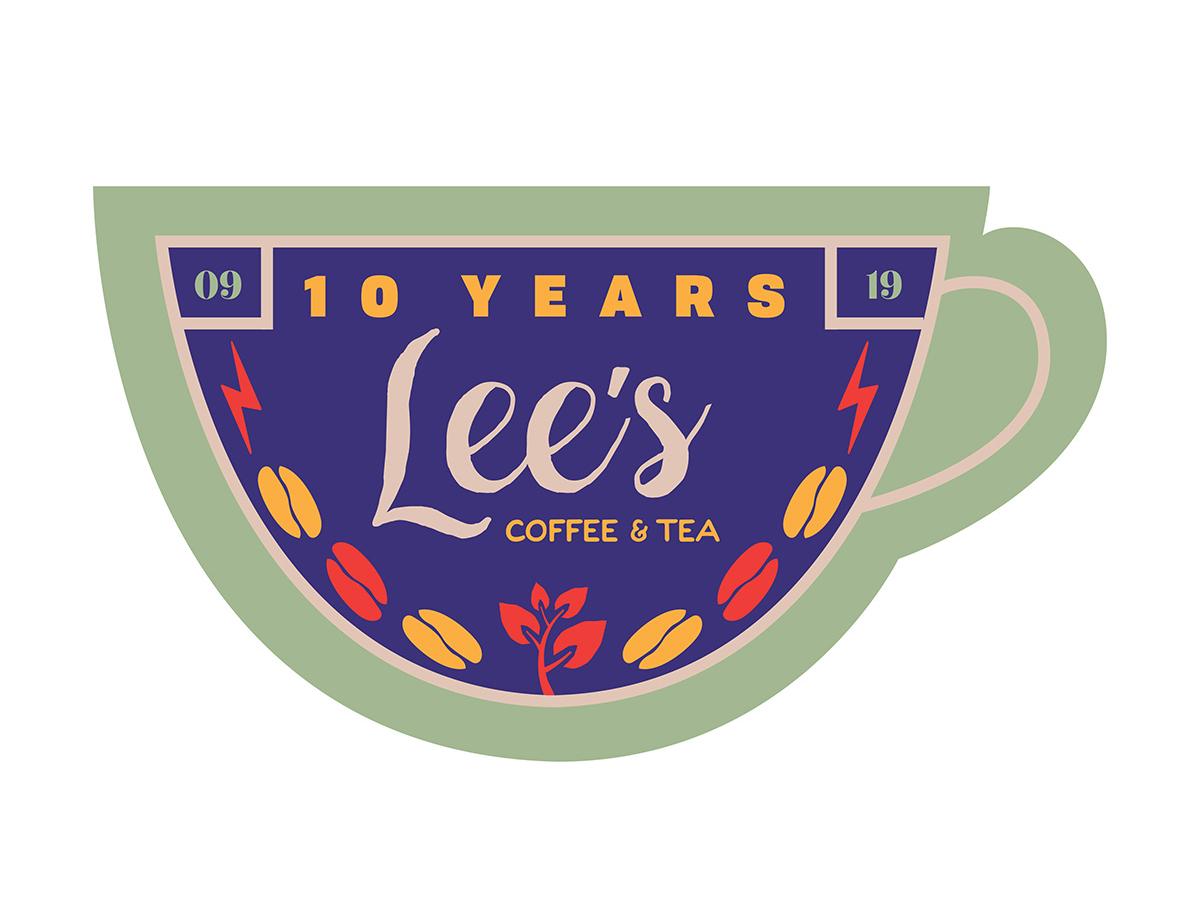 Lee's 10 Year Anniversary Badge badges illustration lauren smith-bynum anniversary 10 year 10 year anniversary identity logo