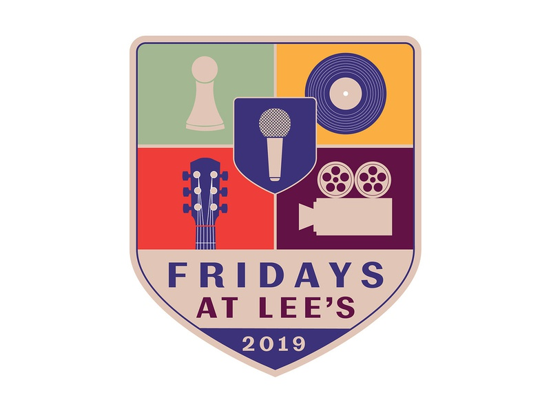 Fridays at Lee's 2019 Logo downtown disney entertainment nightlife board game movie live music vinyl open mic laurel mississippi branding design vector illustration identity logo
