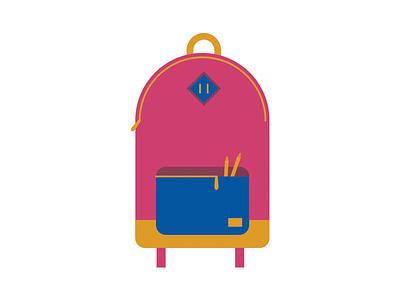 Back2School editorial herschel flat vector knapsack backpack book bag school
