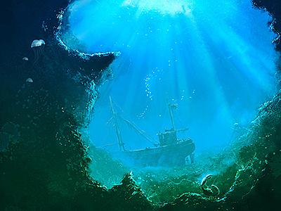 Big blue big blue boat underwater sea atmosphere deep water volumetric bright illustration digital art photoshop peter nagy dirclumsy