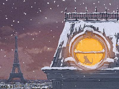 Winter in Paris winter paris roof cat snow peter nagy dirclumsy eiffel tower