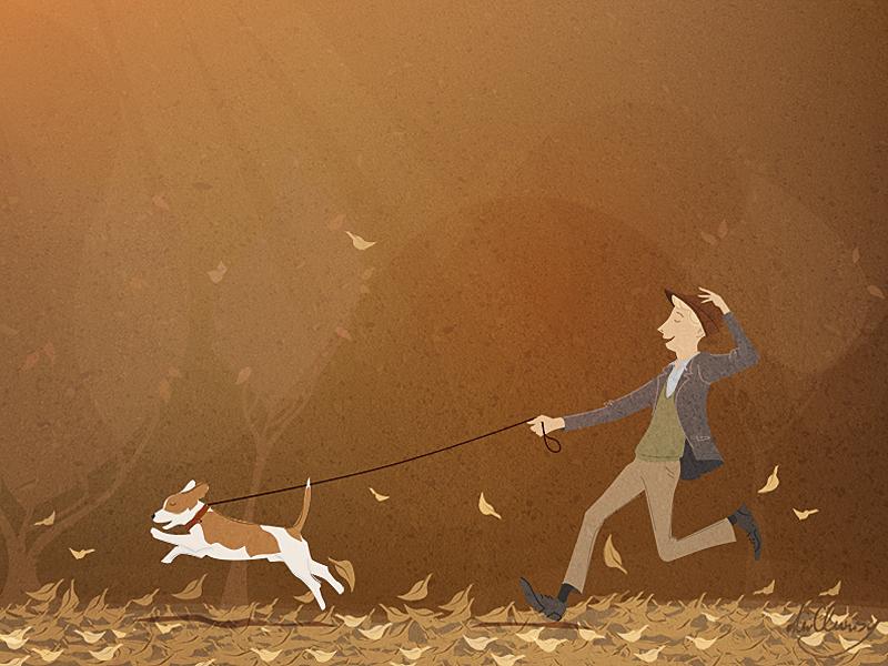 Run run dog beagle walking autumn hat peter nagy dirclumsy leaf