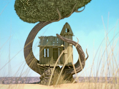 Plankhouse plank house tree sea atmosphere 3d maya nuke photoshop