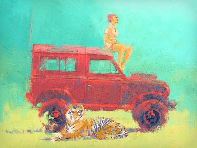Defender landrover 4x4 atmosphere peternagy dirclumsy tiger girl safari defender