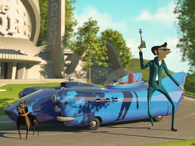 Spyder vray dirclumsy peternagy cinema4d 3d secret dog agent car spyder