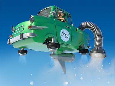 Snow factory cardesign backtothefuture christmas winter cinema4d 3d dirclumsy peternagy pickup car factory snow