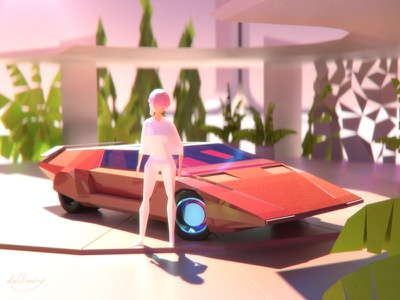 New futurism arnold c4d car lowpoly futurism