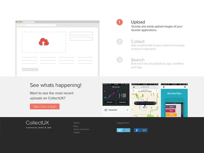 Collect UX collectux web flat landing page.