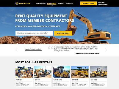 Yard Club Landing Page landing page webpage design construction flat design hero image startup