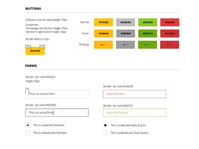 Yard Club Style Guide  ui style guide