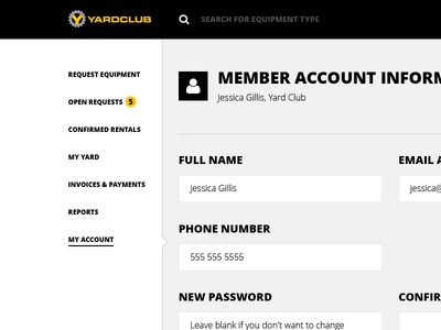 Yard Club App Navigation