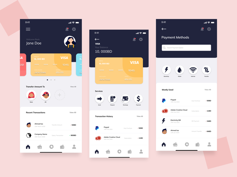 Wallet App wallet ui wallet app ui design ux design illustration web ui webdesign adobexd