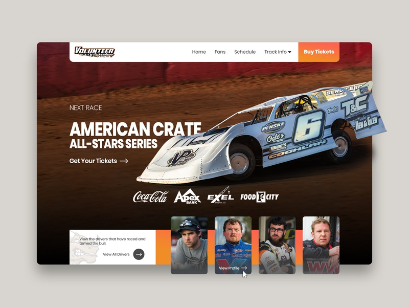 Volunteer Speedway - Website Exploration ui typography style website concept website website design landing page interface experience clean design colors clean design branding
