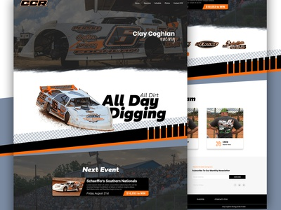 Clay Coghlan Racing (CCR) - Website Design website redesign website design website racing logo racing adobe photoshop page design logo illustrator hero image graphics graphicdesign dirt track racing dirt track design branding adobexd