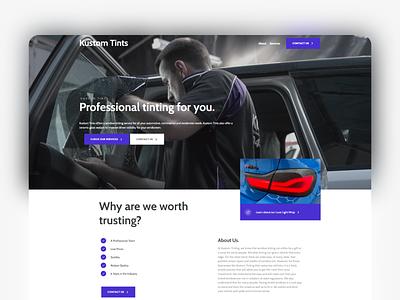 Kustom Tints - One Page Design ux ui website website design design
