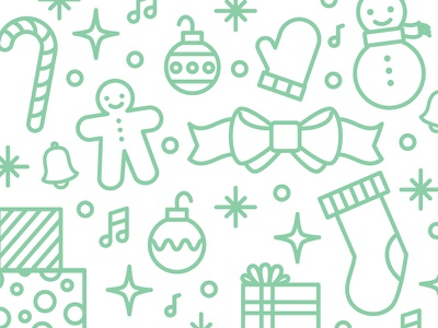 Holiday Icons illustration icon green vector snowman gift present stocking ribbon ornament winter holiday