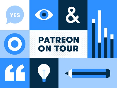 Patreon On Tour ampersand modular workshop pencil chart lightbulb quote target eye blue illustration