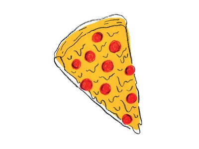 Pizza Playoff pepperoni handdrawn red yellow drawing illustration pizza