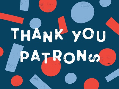 Thank You Patrons thank you navy blue red navy geometric shapes typography abstract illustration thanks