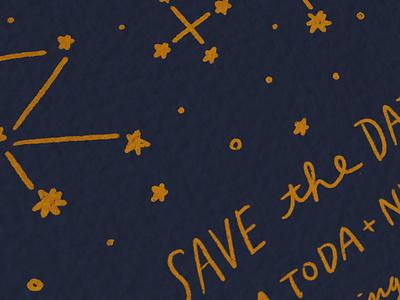 Save the Date handlettering illustration constellation invitation design card invitation