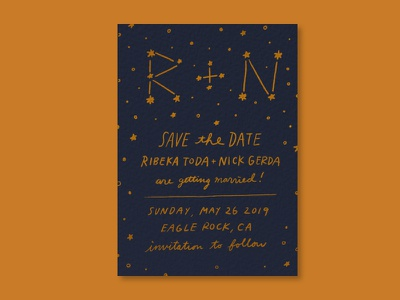 Save the Date handlettering illustration constellation invitation design card invitation