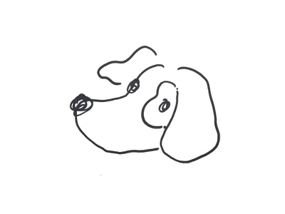 doggie white black illustration dog