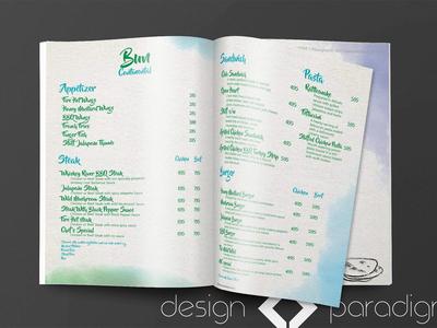Water colour themed Menu Design