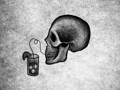 Sipping Skull skull illustration drawing
