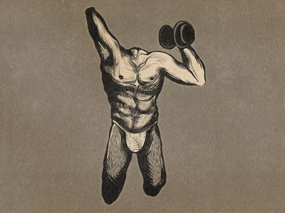 Buff Cuts weightlifting muscle illustration drawing