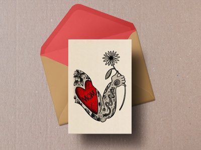 Mother's Day illustration drawing flower tattoos card