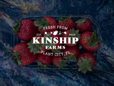 Kinship Farms Emblem strawberry farm strawberry florida logo design