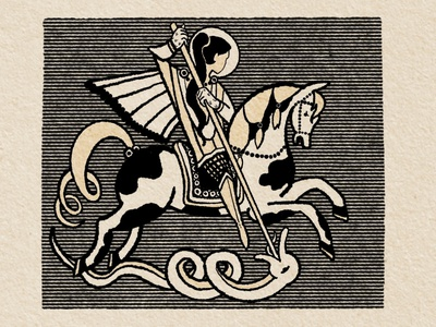 St. George conquer horse illustration drawing