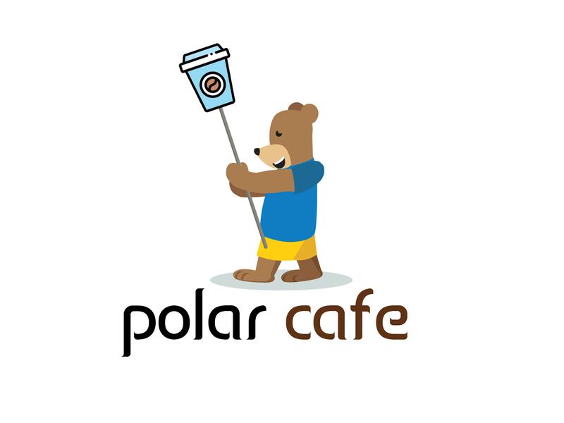 polar bear cafe cafe branding cafe logo cafe illustration vector design logo 2d branding vector art logo