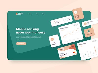Hoffman Bank - Landing page concept bank card analysis graph cards figma sketch interface color palette banking mobile ux ui app landing concept arounda